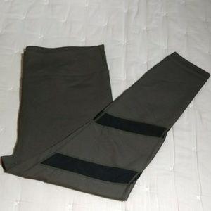 Fabletics Olive Green Mesh Cutout Leggings
